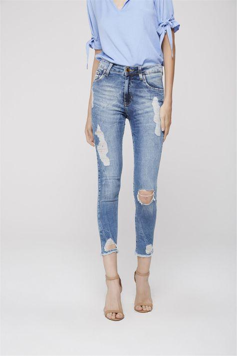 64645180a0 ... Calca-Cropped-Jeans-Cintura-Alta-Rasgada-Frente-- ...