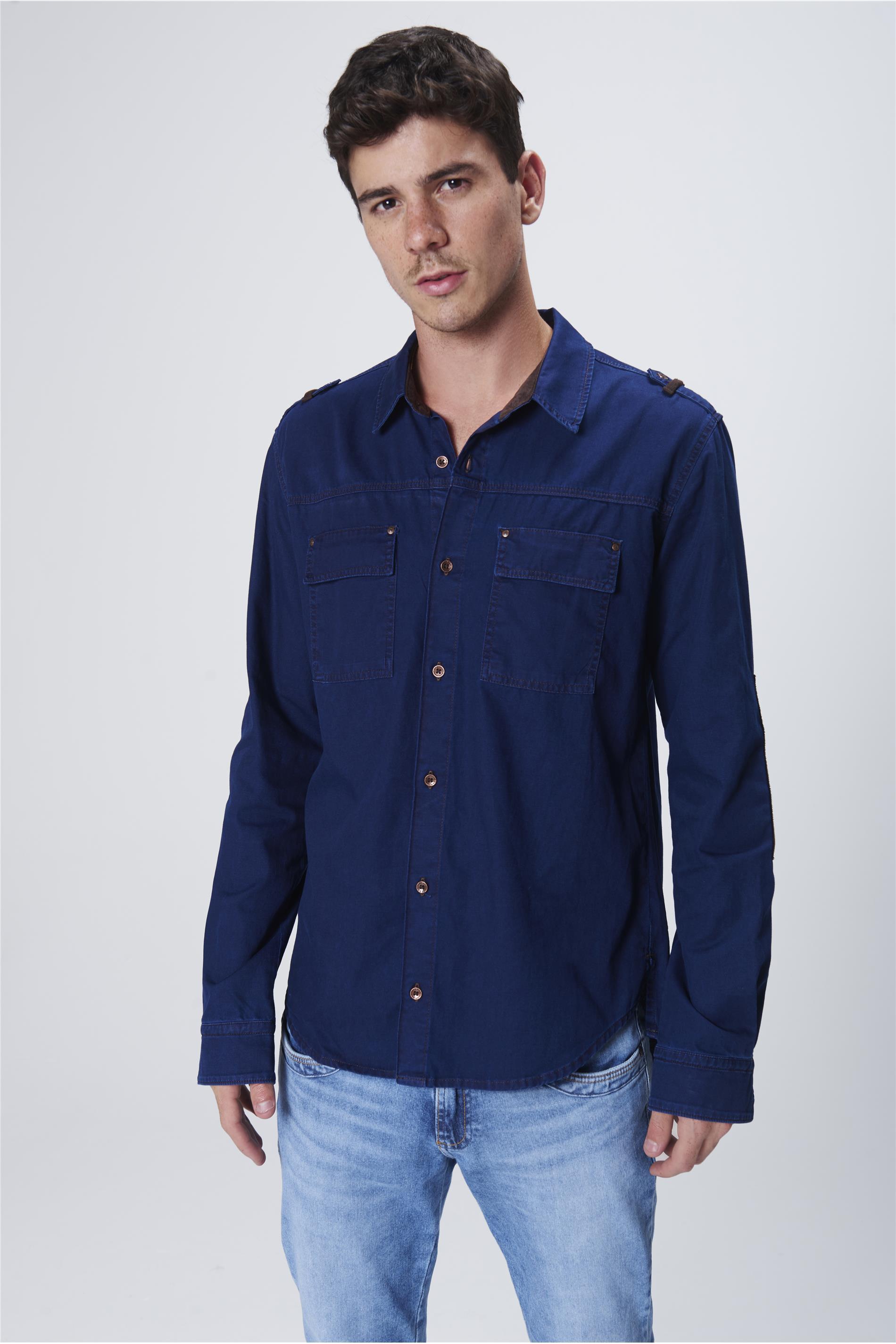 54518aa305 abrir. Camisa-Jeans-Masculina-Frente- ...