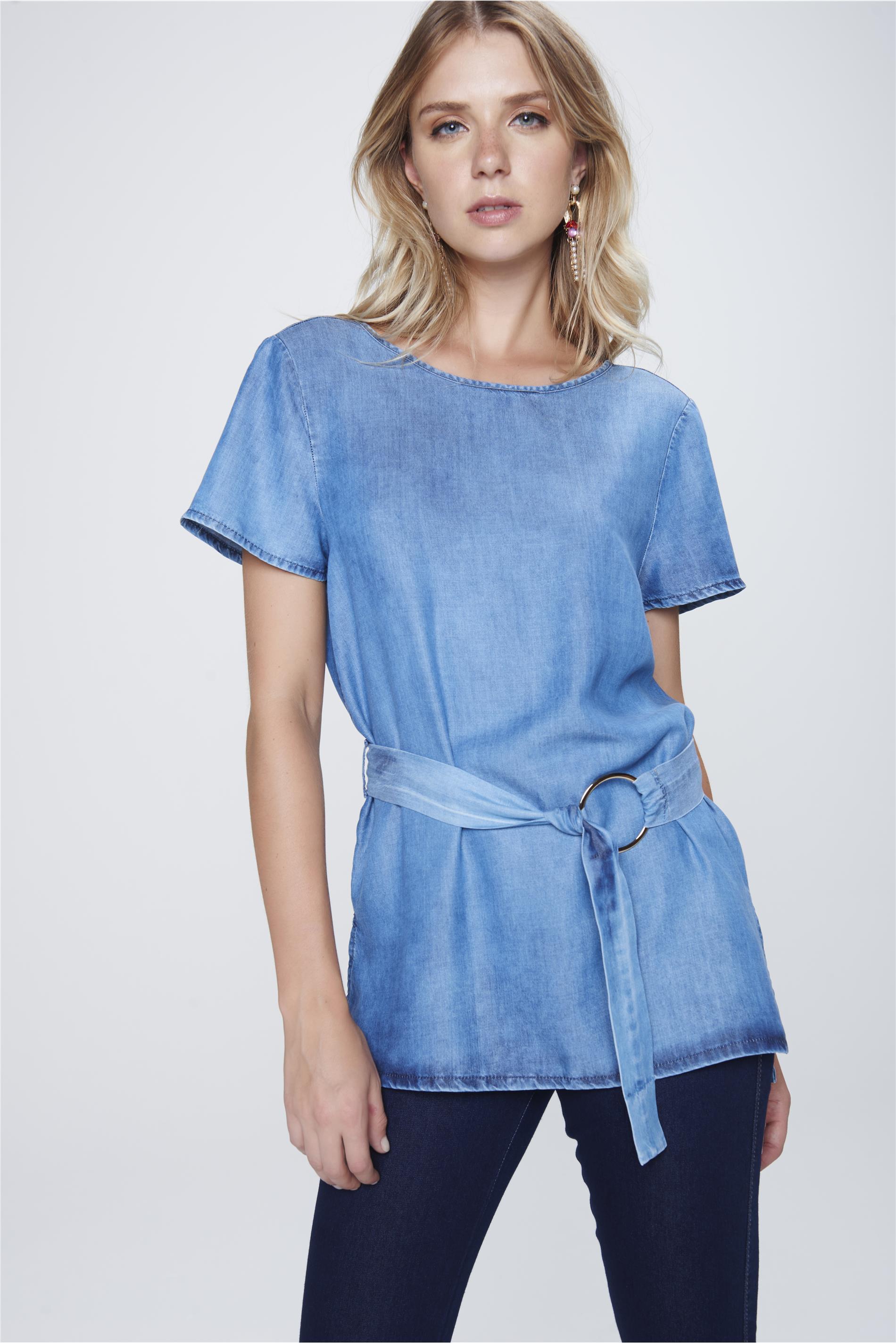 261409962 Blusa Jeans com Cinto Feminina - Damyller