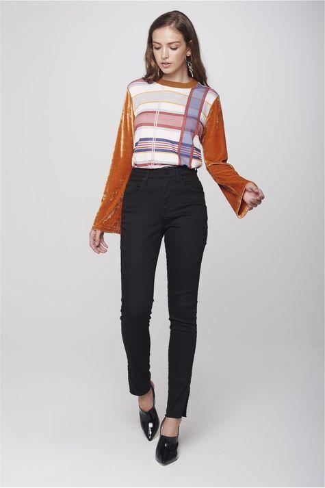 Calca-Cigarrete-Jeans-Preto-Feminina-Frente--
