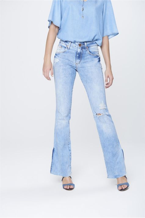 Calca-Boot-Cut-Feminina-Jeans-Destroyed-Frente-1--