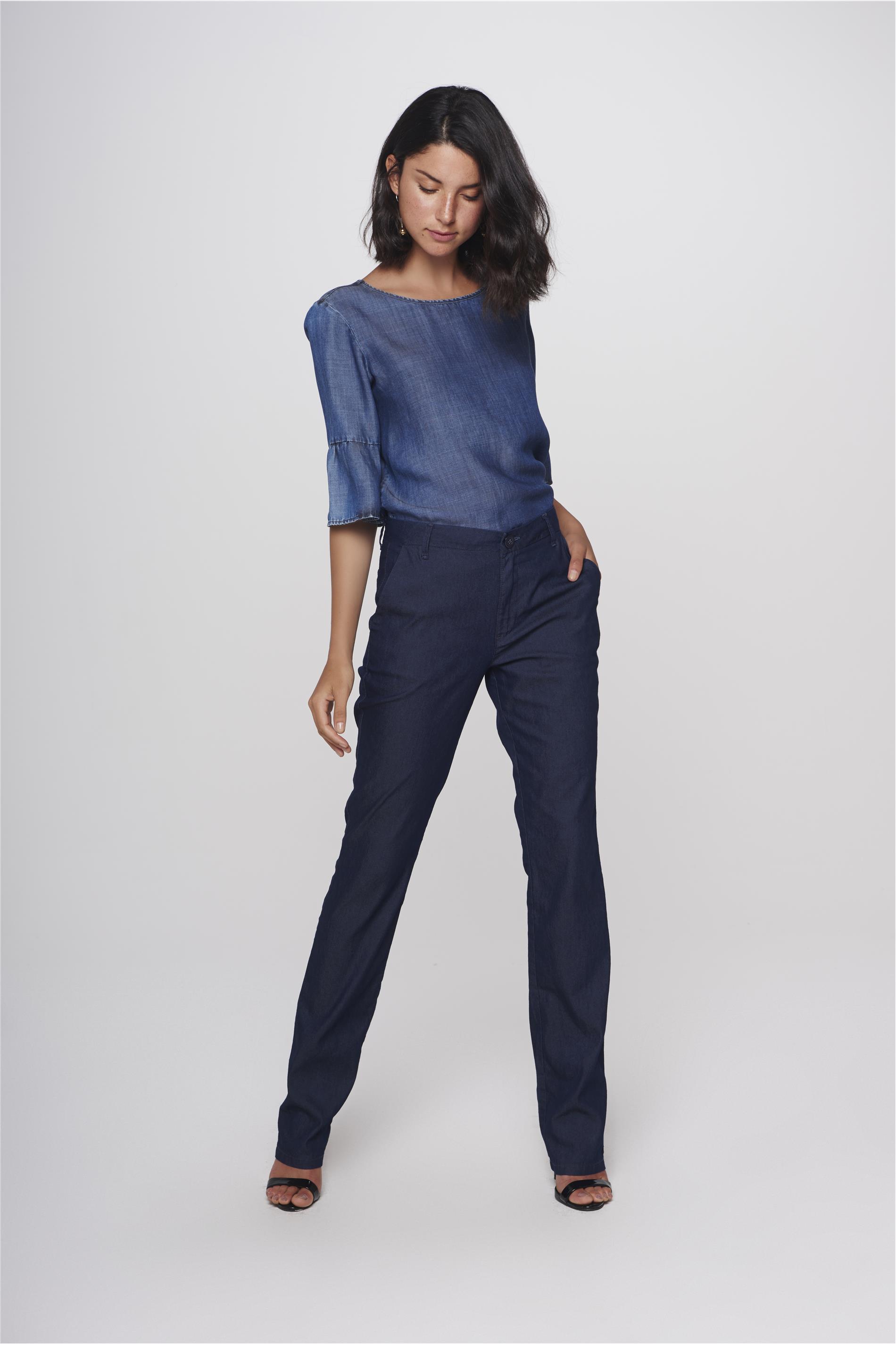 cf65a5012 Calça Jeans Reta de Alfaiataria Feminina - Damyller