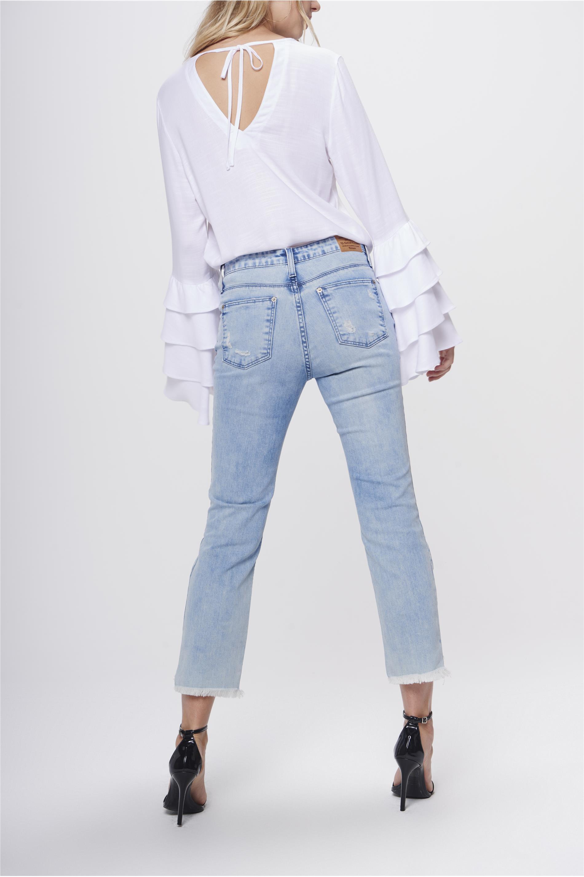 631a9d5cfd Calça Jeans Cropped Barra Assimétrica - Damyller