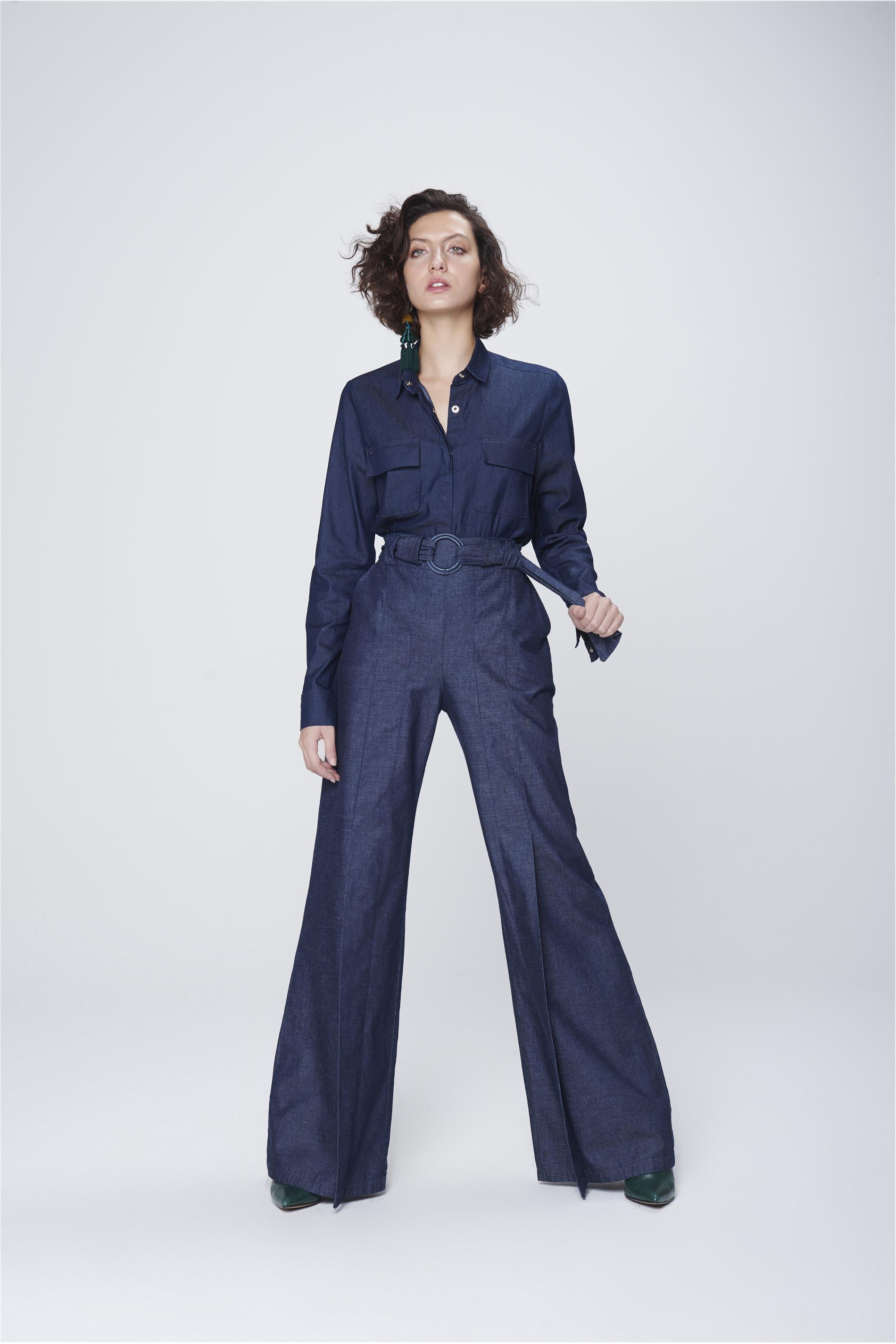 d63df42d96 Calça Pantalona Jeans com Cinto Feminina - Damyller