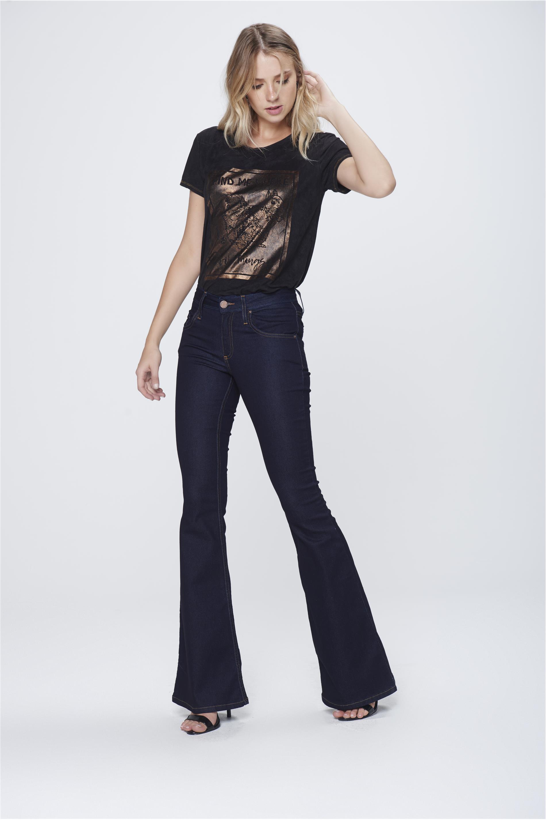 41bfc1536 Calça Flare Jeans Escuro Feminina - Damyller