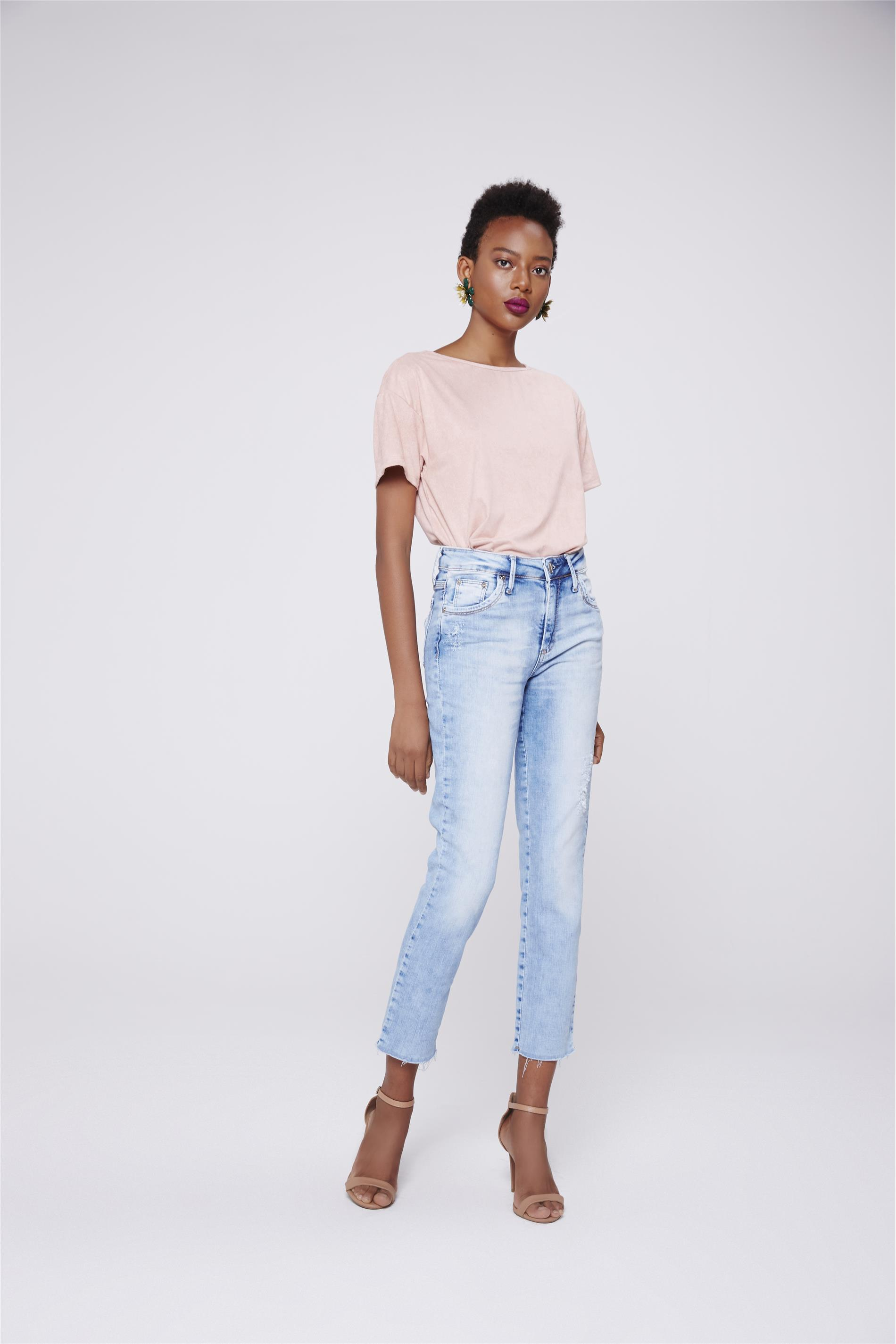 2ba14b5ef Calça Jeans Reta Cropped de Cintura Alta - Damyller