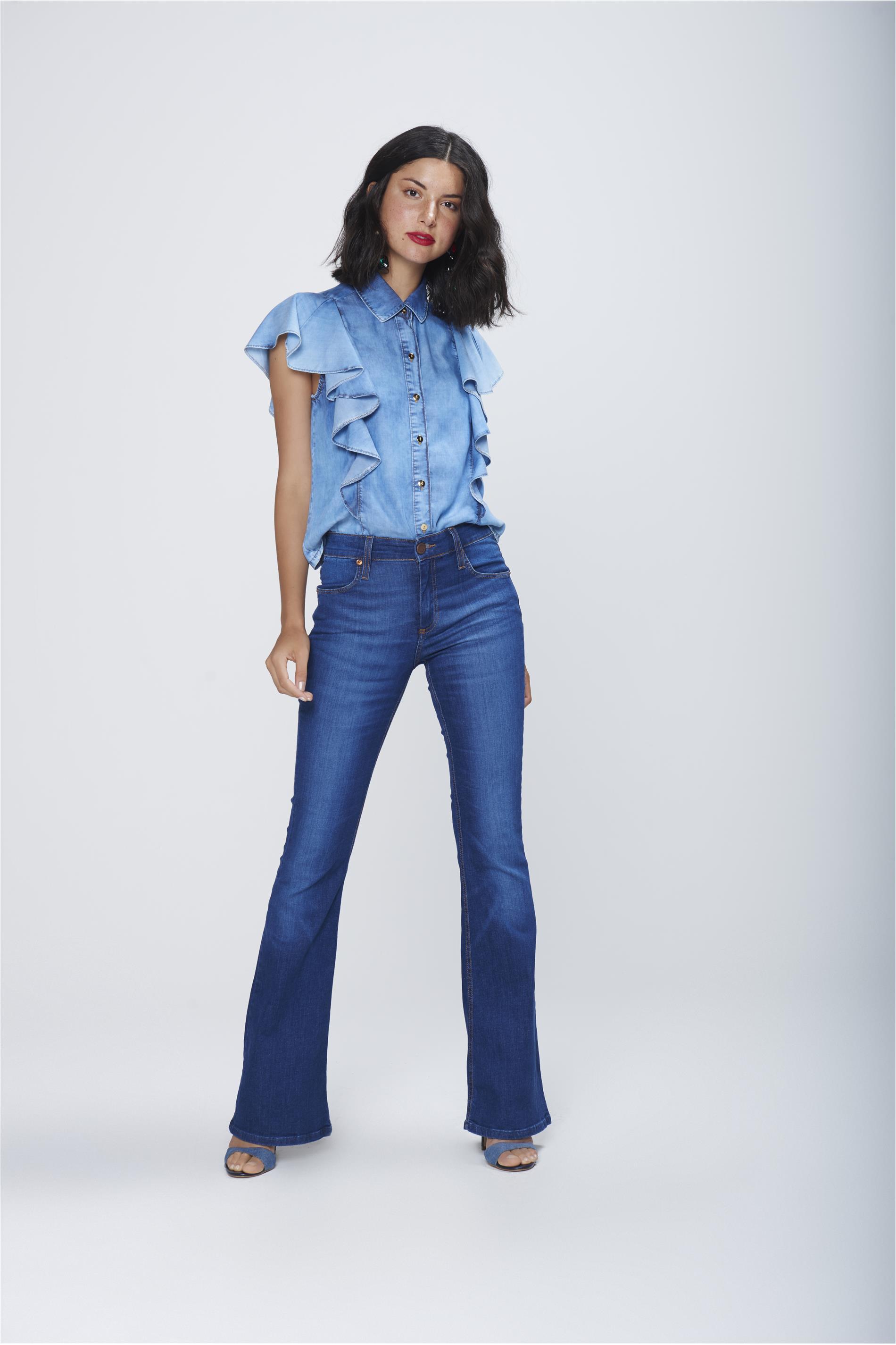 938dd8a6e Calça Boot Cut Jeans Cintura Alta - Damyller