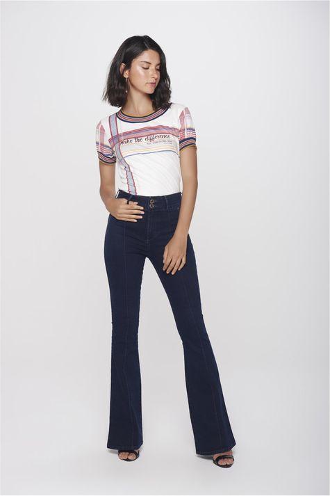 7bdc587615 Calça Flare Jeans Feminina Prega Frontal - Damyller