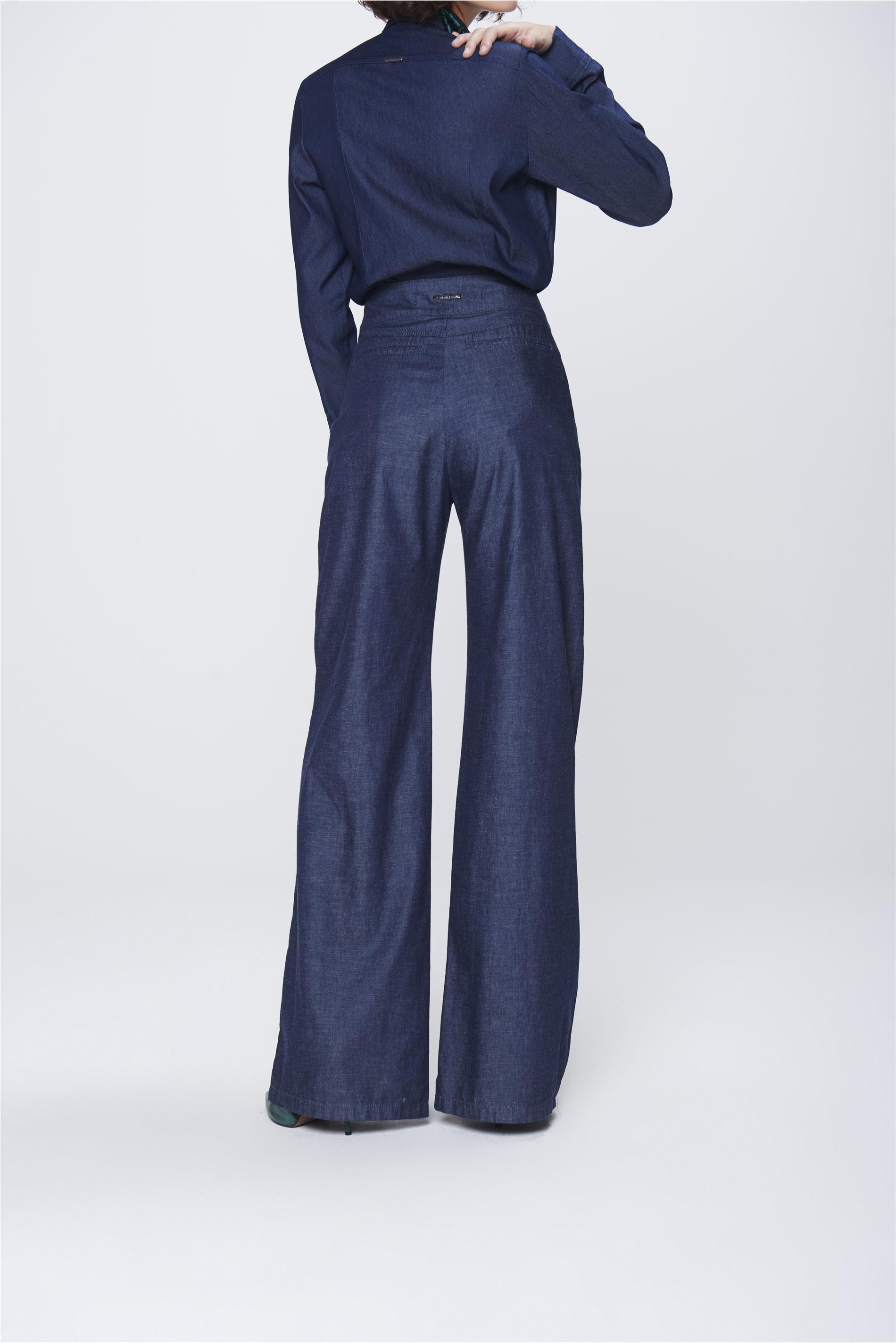 ea4047d77 Calça Pantalona Jeans com Cinto Feminina - Damyller