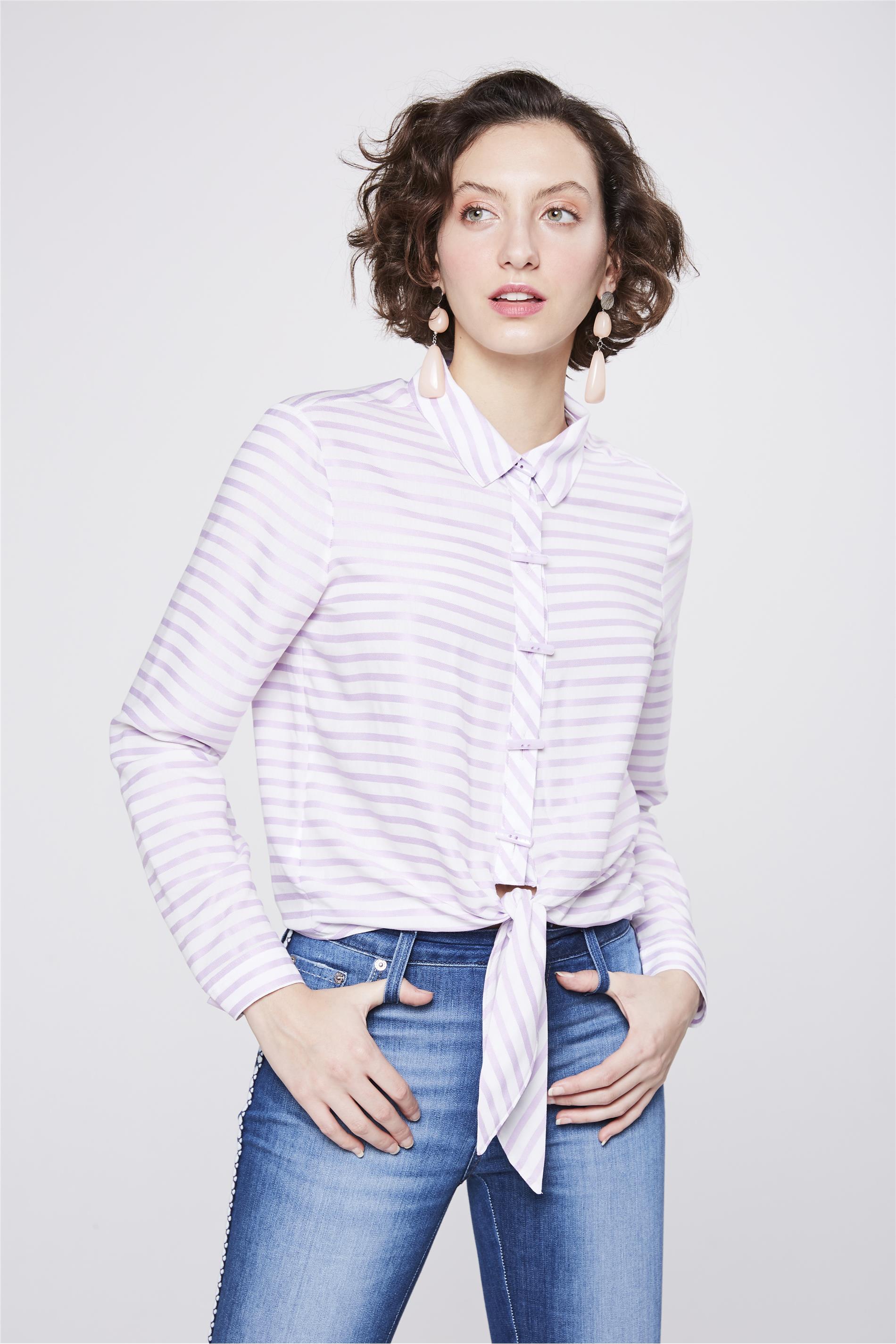 5b3421ae1 Camisa Listrada com Amarração Feminina - Damyller
