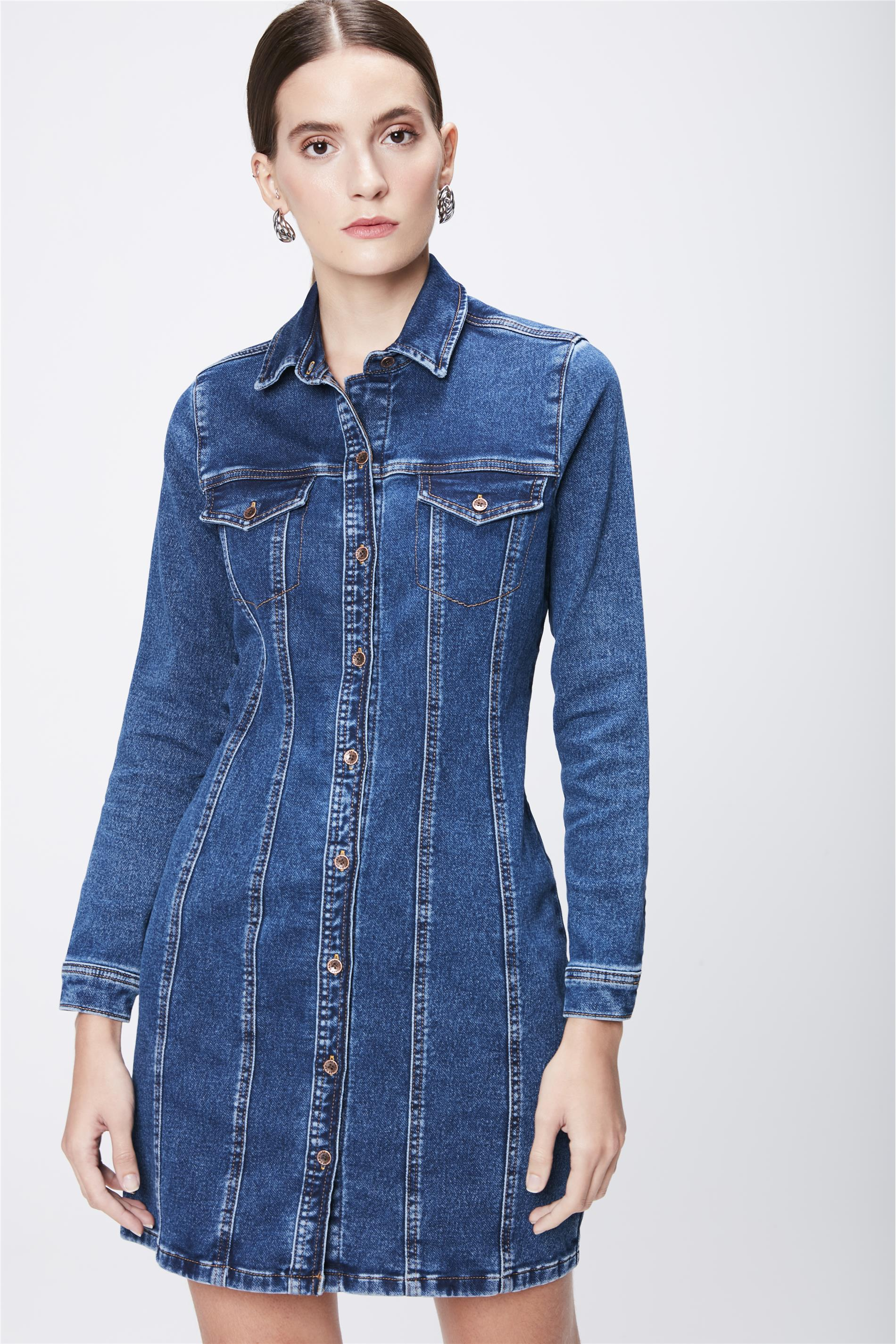 041eee211 Vestido Jeans Manga Longa - Damyller