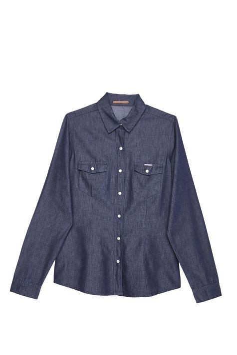 Camisa-Feminina-em-Jeans-Escuro-Detalhe-Still--
