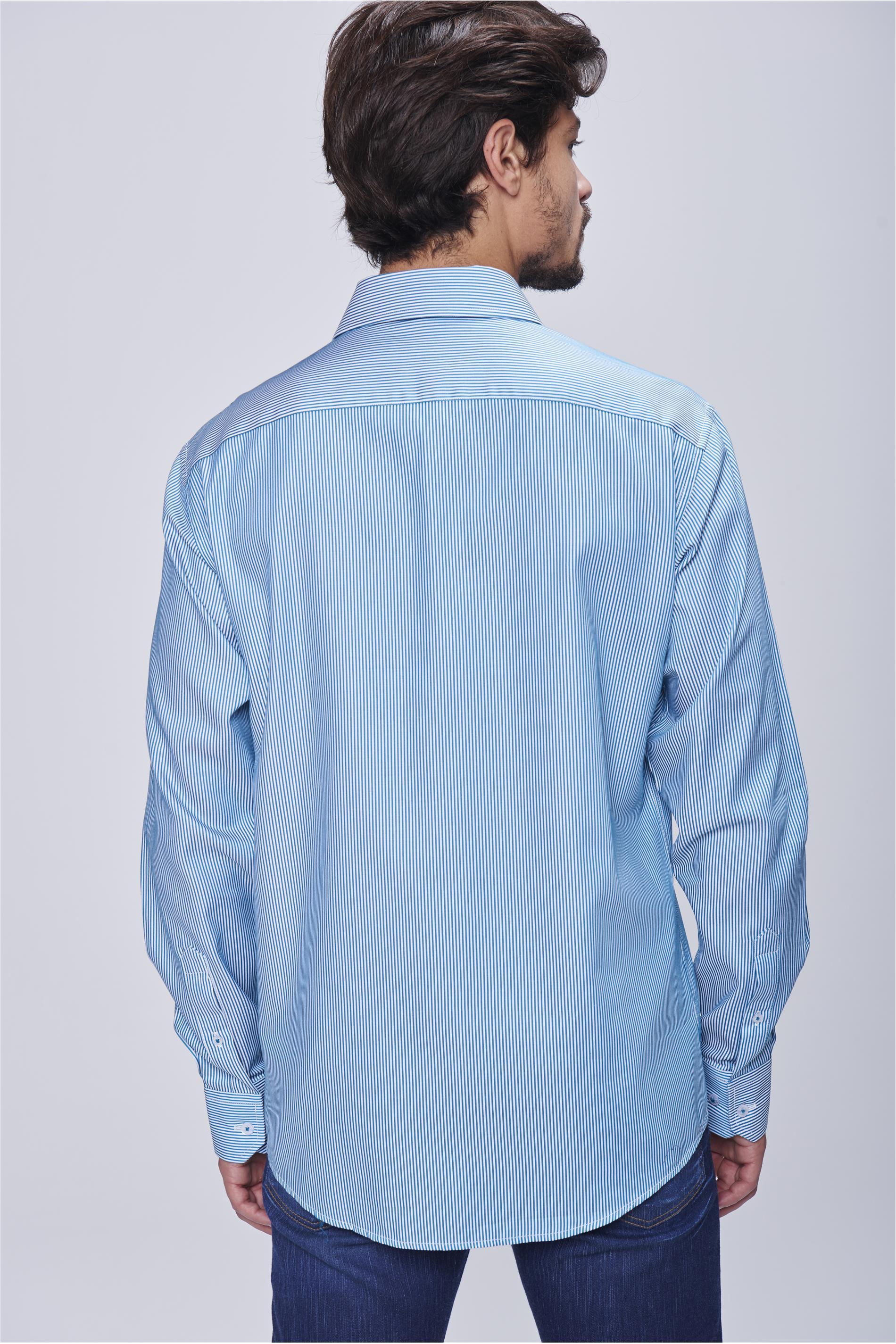 b62b66583785 Camisa Social Listrada Masculina - Damyller