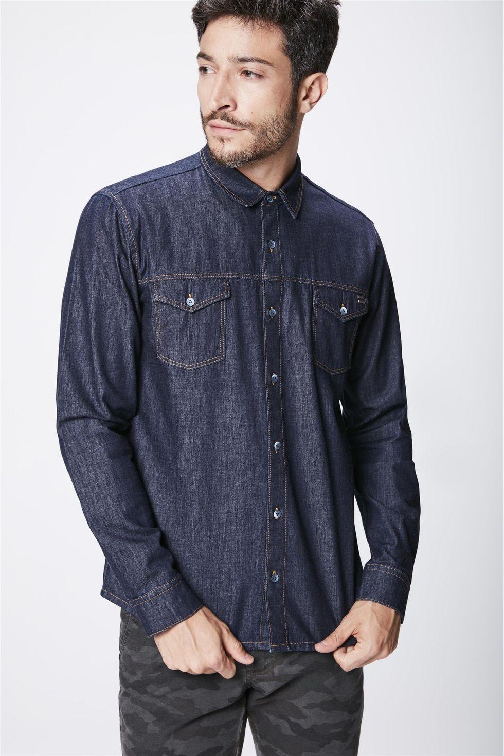 Camisa-Jeans-Escuro-Masculina-Frente--