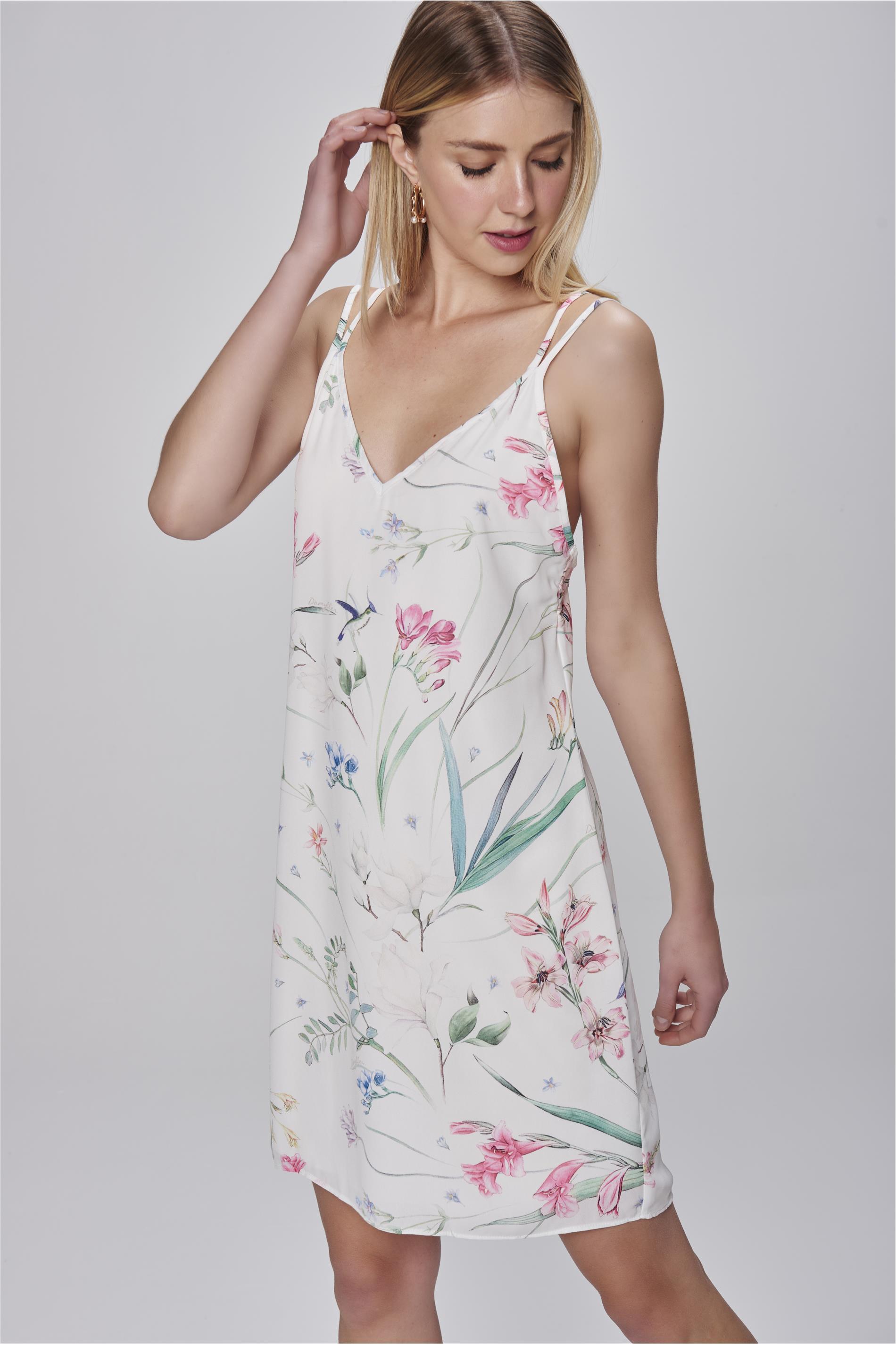 4cb40767e1 Vestido de Alça Estampa Floral - Damyller