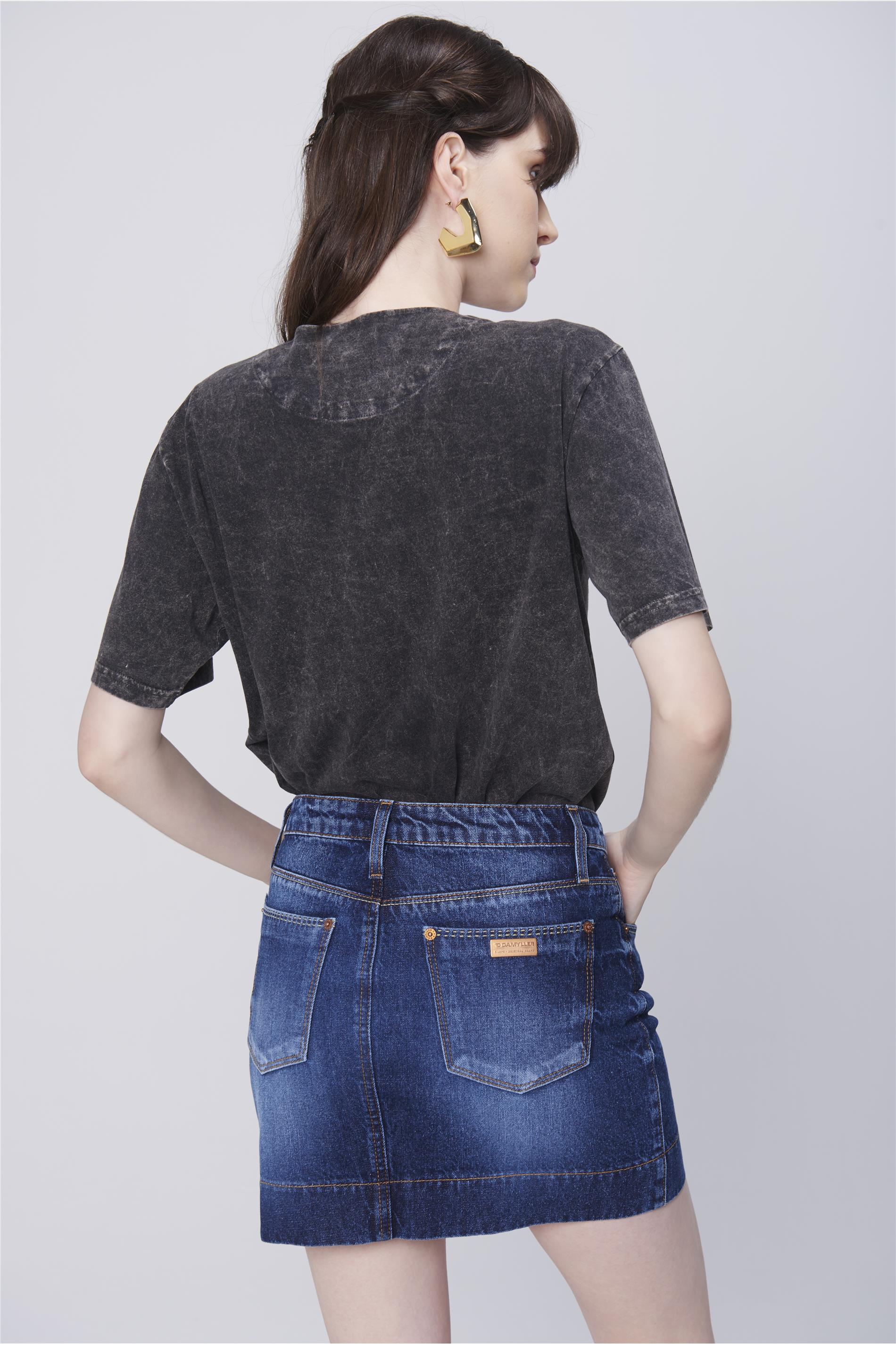 339cddd0f Saia Jeans Mini com Etiqueta no Bolso - Damyller