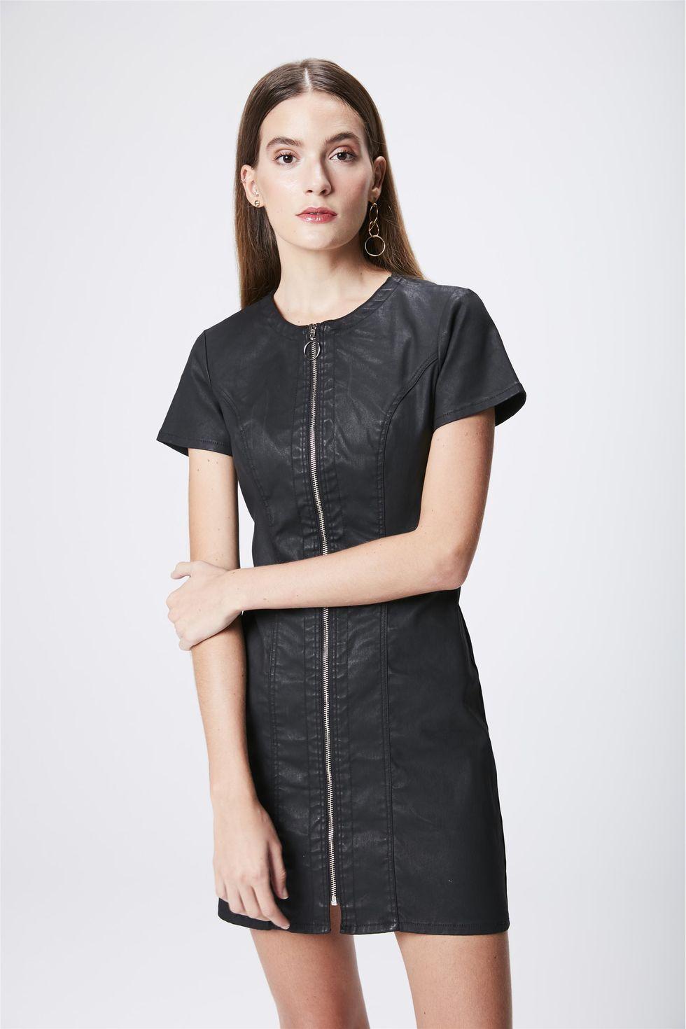 Vestido-Resinado-com-Ziper-Frontal-Frente--