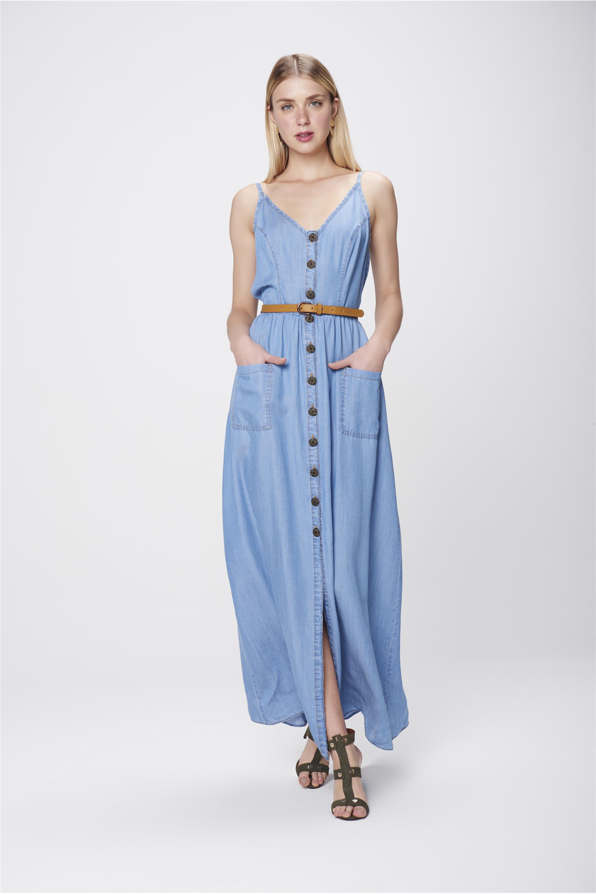 5f9333b46 Vestido Longo Jeans com Cinto - Damyller