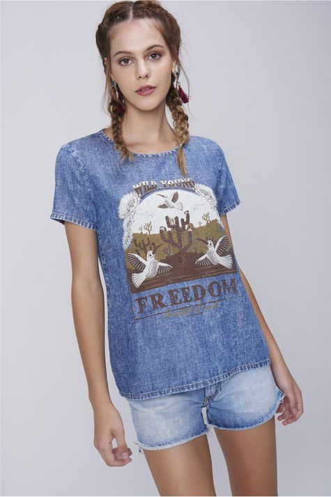 Camiseta-Feminina-Jeans-Estampa-Freedom-Frente--