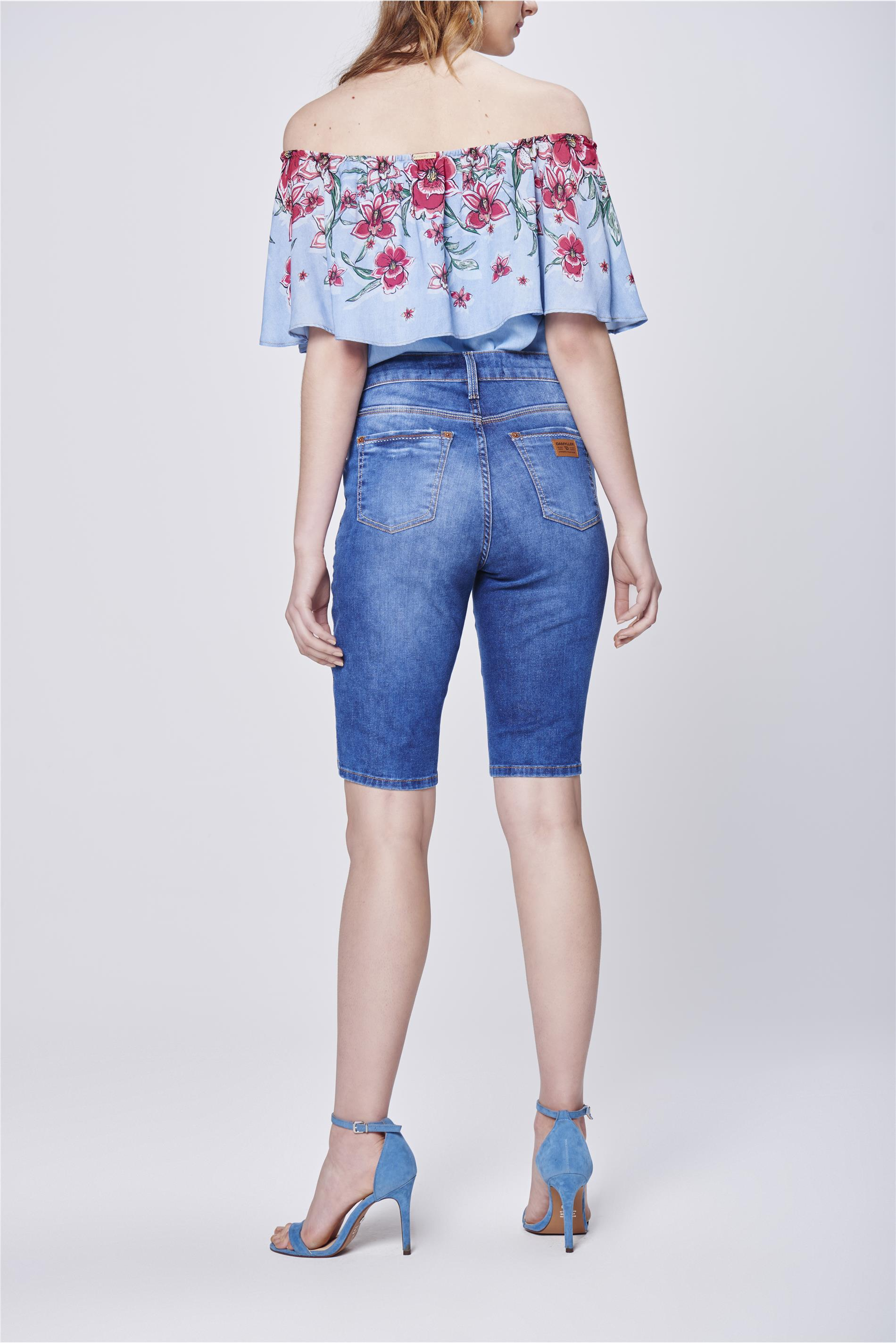 4040a3f44 Bermuda Jeans Feminina Cintura Alta - Damyller