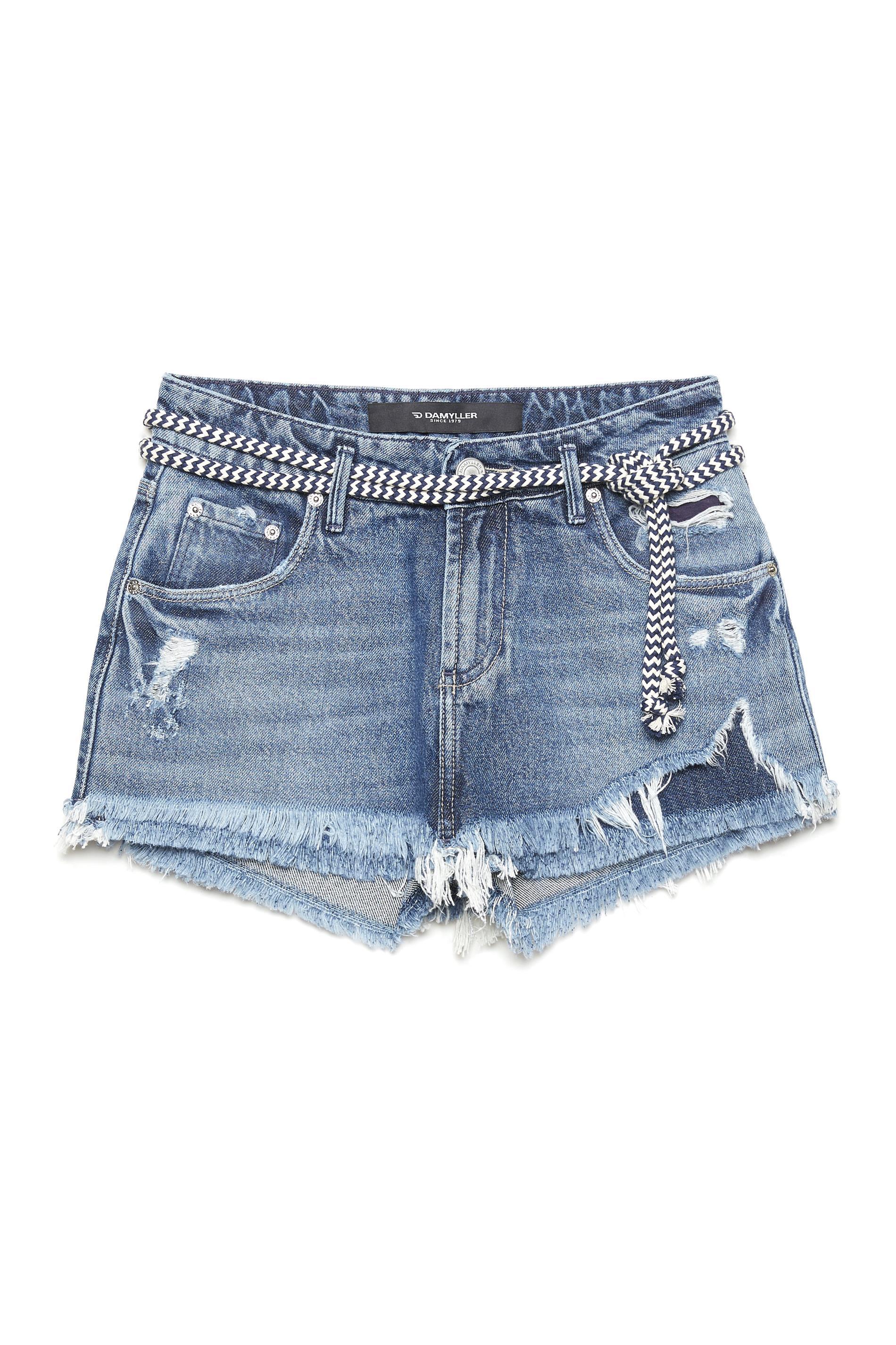 ff8cd8de6 Short Saia Jeans com Cinto de Cordão - Damyller