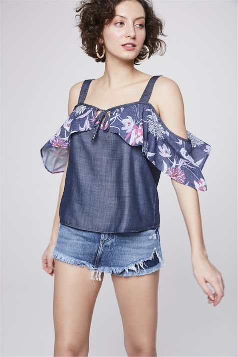 Bata-Jeans-com-Babado-Floral-Feminina-Frente--