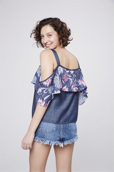 Bata-Jeans-com-Babado-Floral-Feminina-Costas--