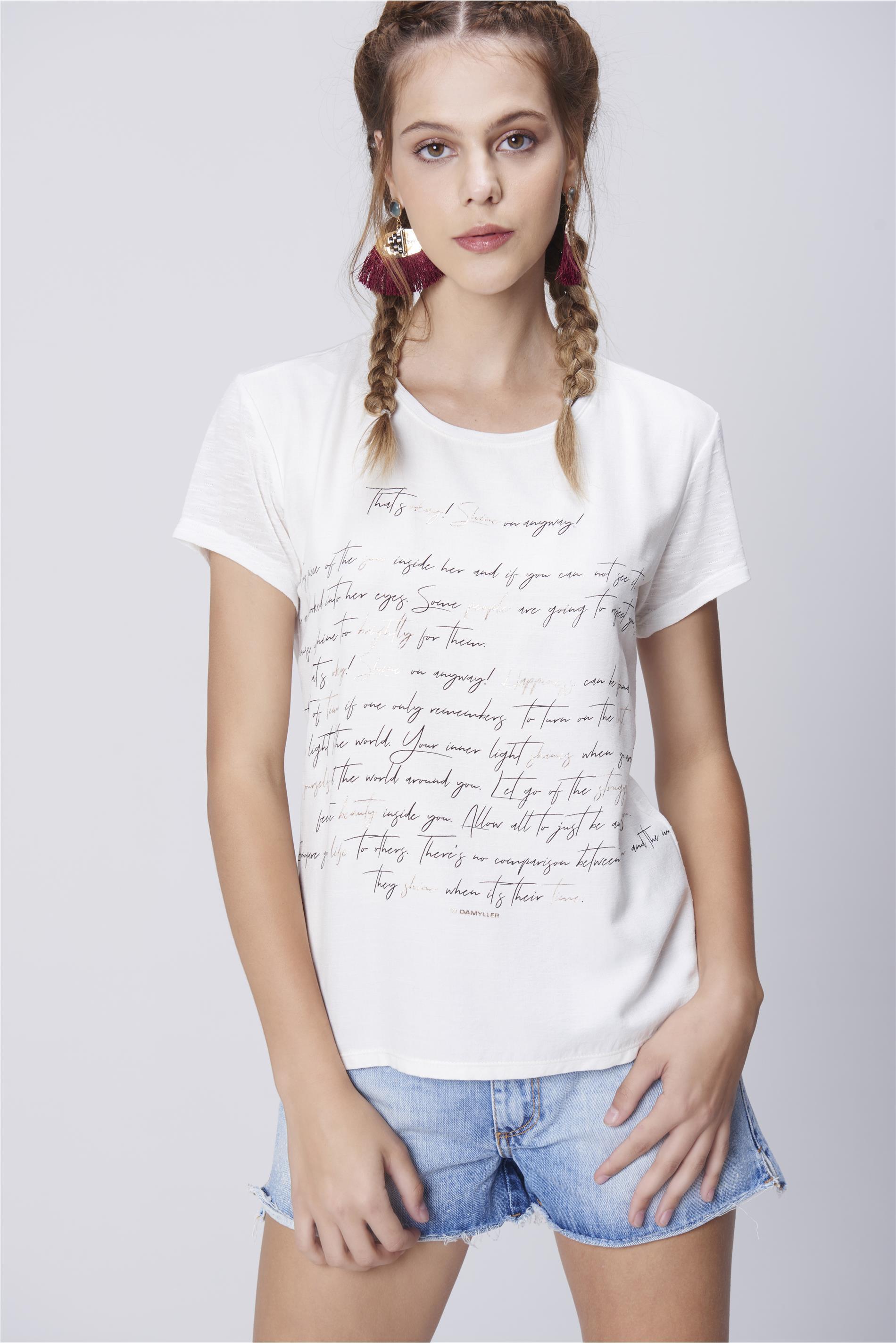 d6b2ad5b48 Camiseta Feminina Malha Flamê Estampada - Damyller