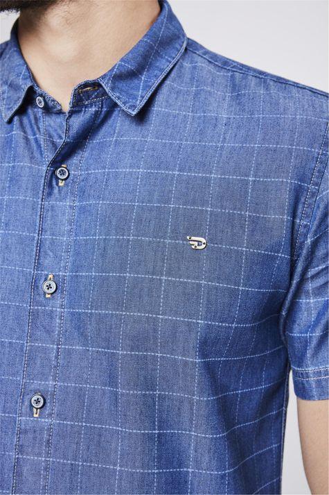 Camisa-Jeans-Xadrez-Masculina-Detalhe--