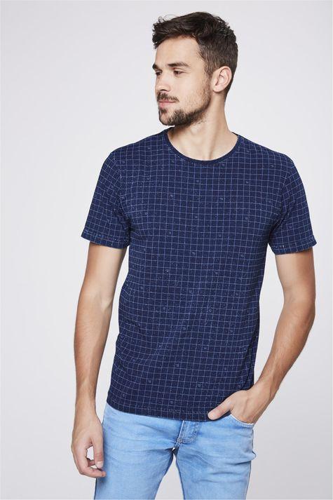 Camiseta-de-Malha-Denim-com-Print-Xadrez-Frente--