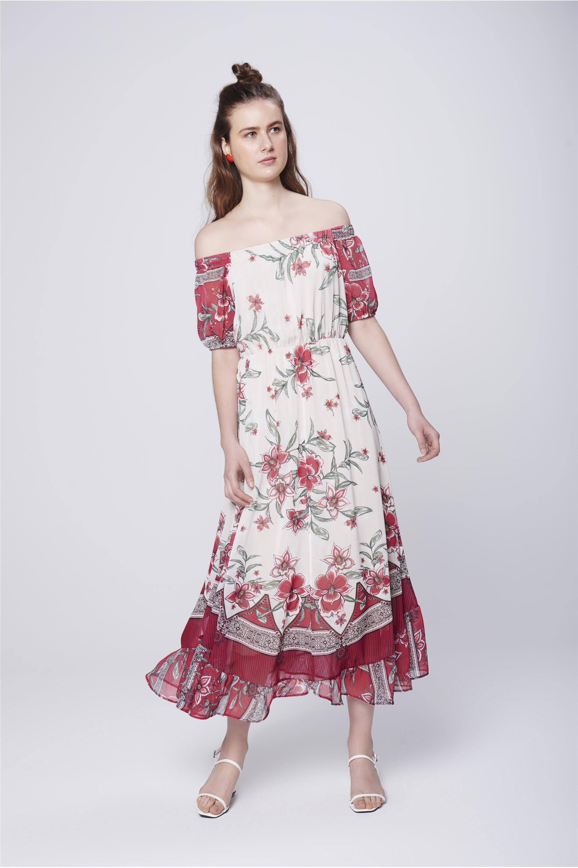 89e8cbd53 Vestido Longo Fluído com Estampa Floral - Damyller