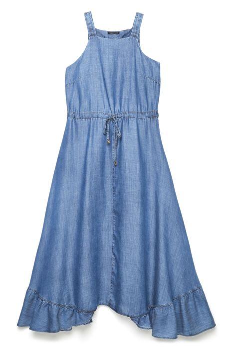 Vestido-Jeans-Longo-com-Babado-na-Barra-Detalhe-Still--