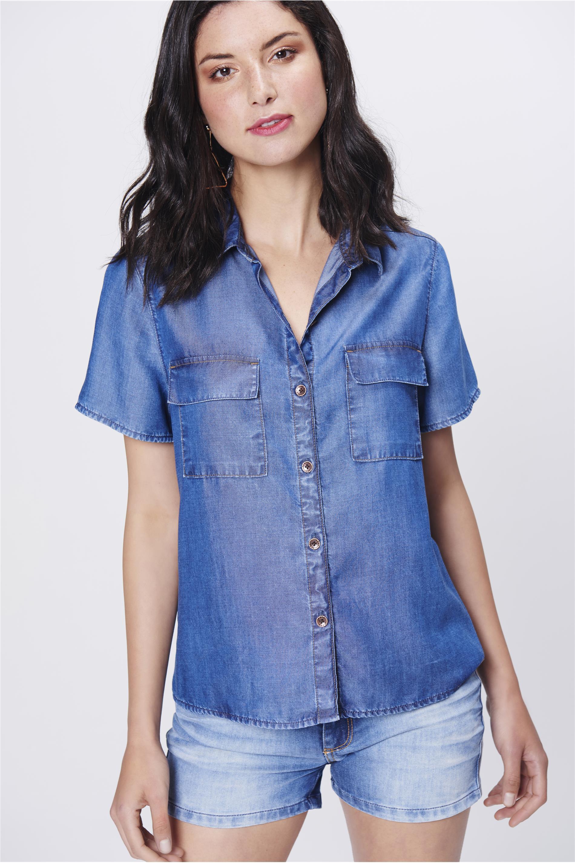 4615c949f Camisa Jeans de Manga Curta Feminina - Damyller