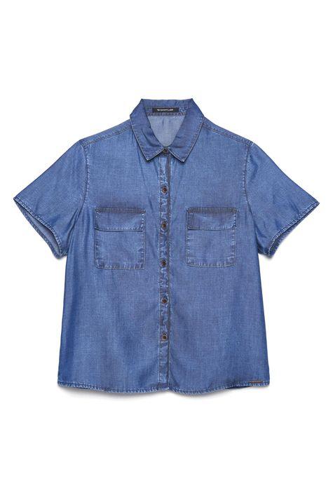 Camisa-Jeans-de-Manga-Curta-Feminina-Detalhe-Still--