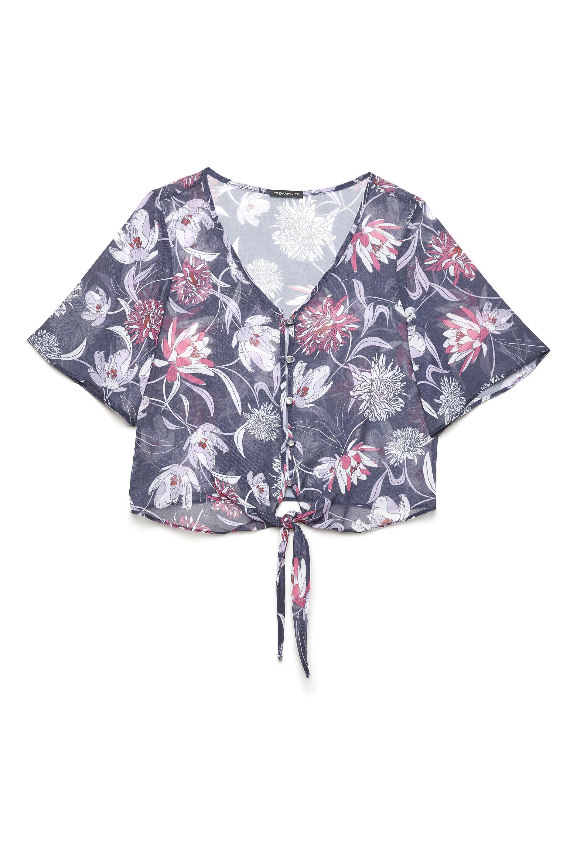 a1b10ac3ee81 Blusa Floral Com Amarração Feminina - Damyller