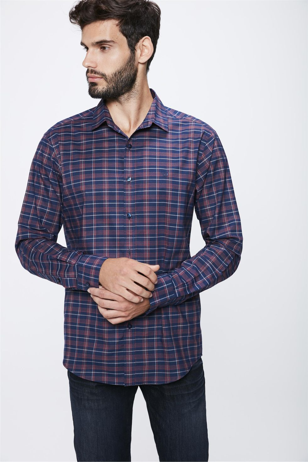 Camisa-Xadrez-Manga-Longa-Masculina-Frente--