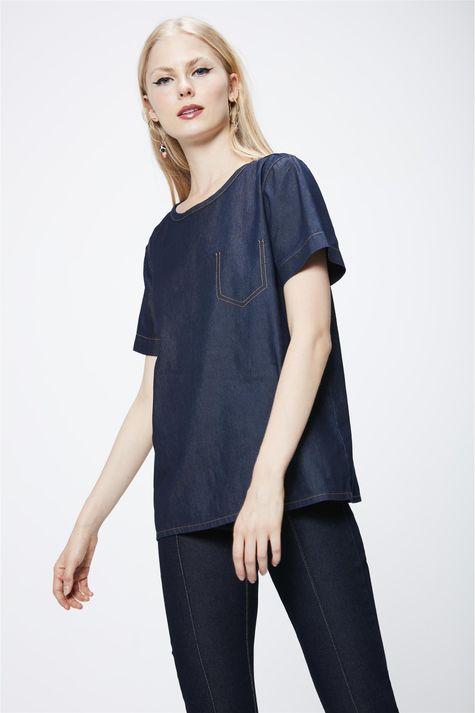 Camiseta-Jeans-Escuro-Feminina-Frente--