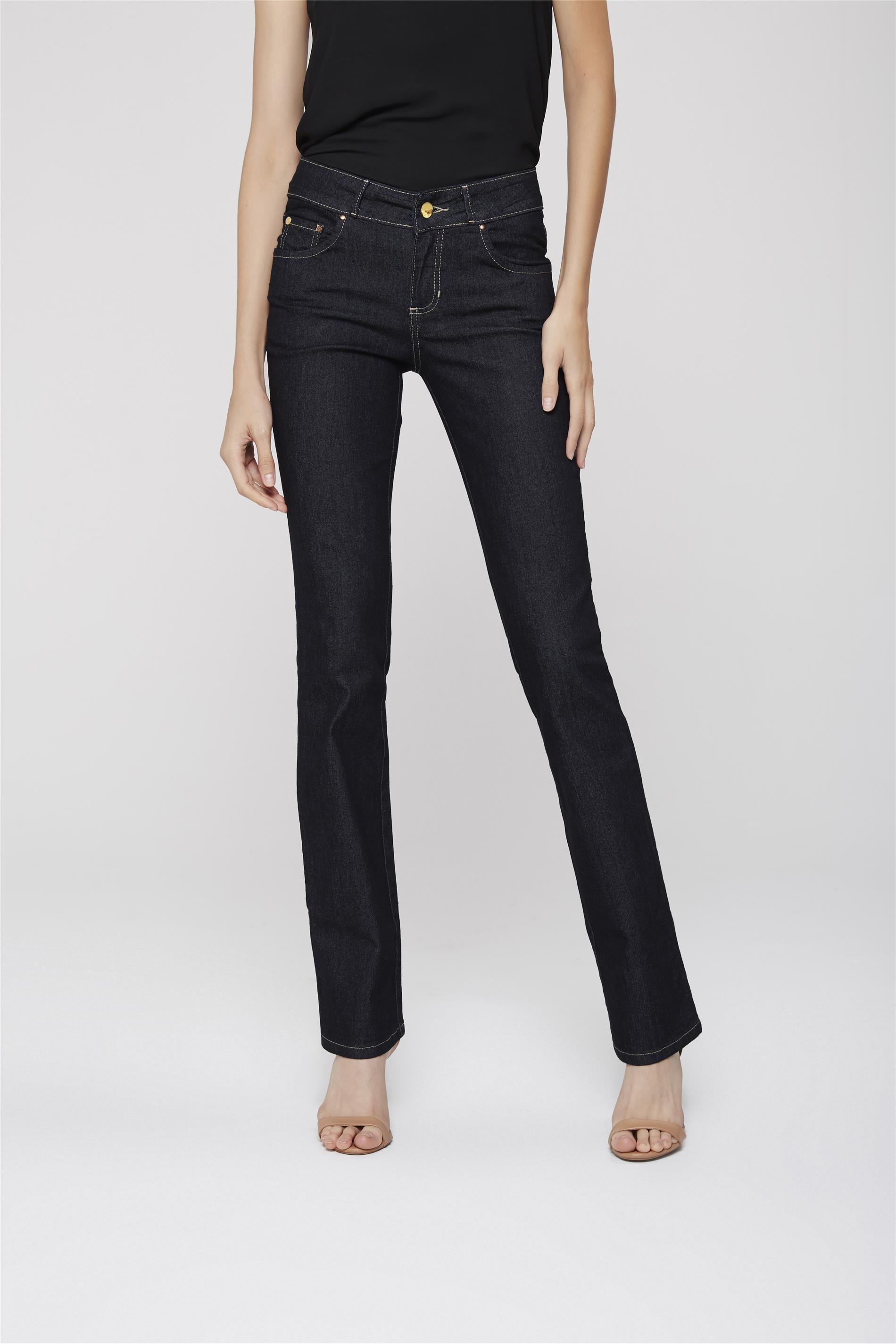 3bfb1b800 Calça Jeans Reta Básica Etiqueta Bolso - Damyller