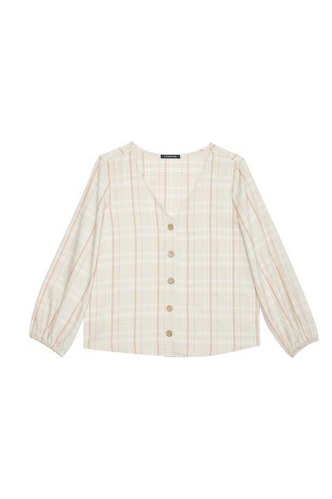 Camisa-Xadrez-com-Decote-V-Feminina-Detalhe-Still--