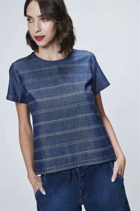 Camiseta-Jeans-Listrada-Feminina-Frente--