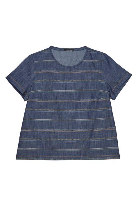 Camiseta-Jeans-Listrada-Feminina-Detalhe-Still--
