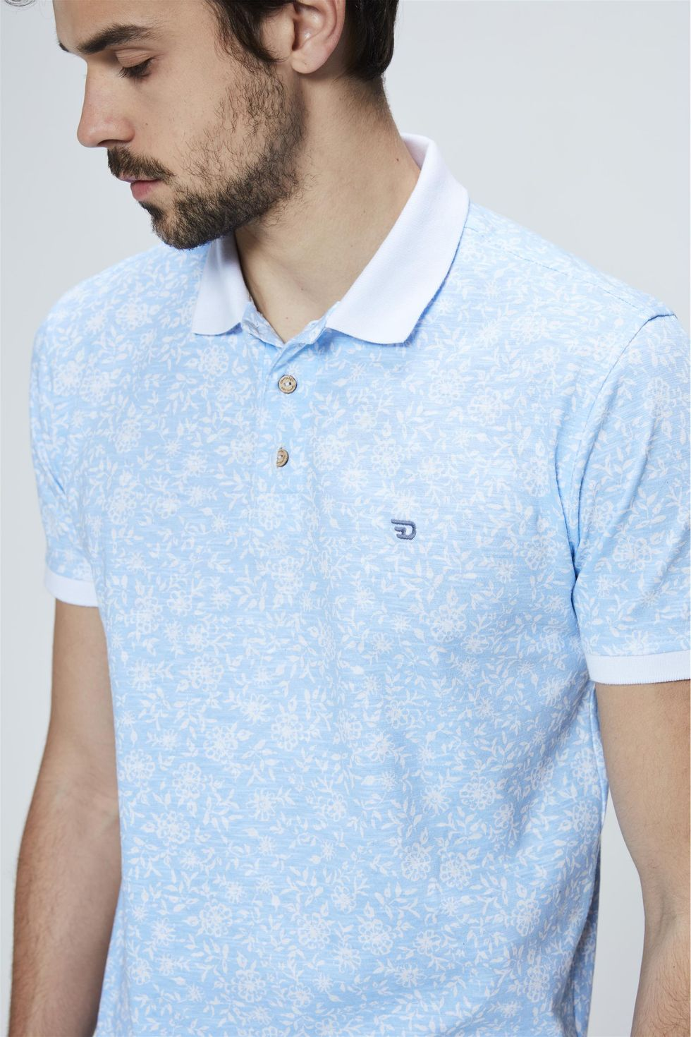 Camisa-Polo-com-Estampa-Floral-Masculino-Frente--