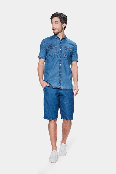 Camisa-Jeans-de-Manga-Curta-Masculina-Detalhe-1--