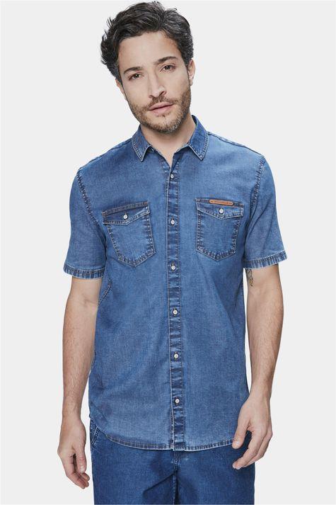 Camisa-Jeans-de-Manga-Curta-Masculina-Frente--