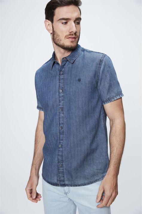 Camisa-de-Manga-Curta-Jeans-com-Textura-Frente--