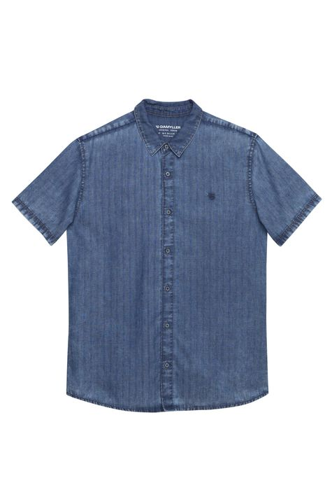 Camisa-de-Manga-Curta-Jeans-com-Textura-Detalhe-Still--