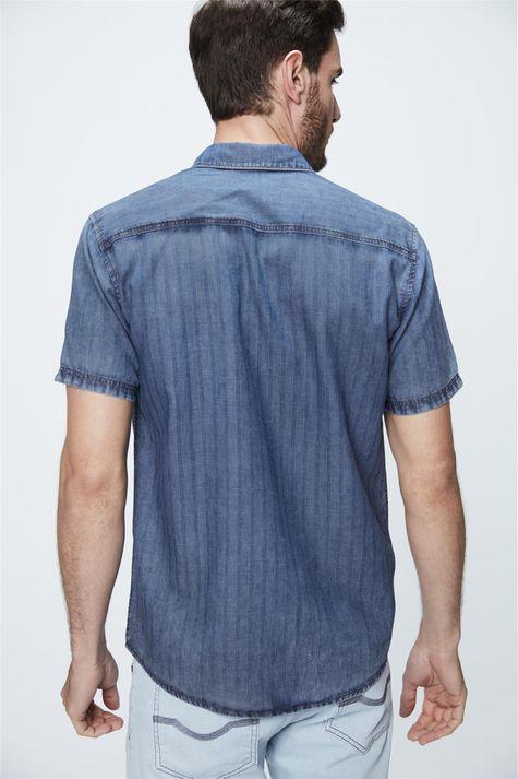 Camisa-de-Manga-Curta-Jeans-com-Textura-Costas--