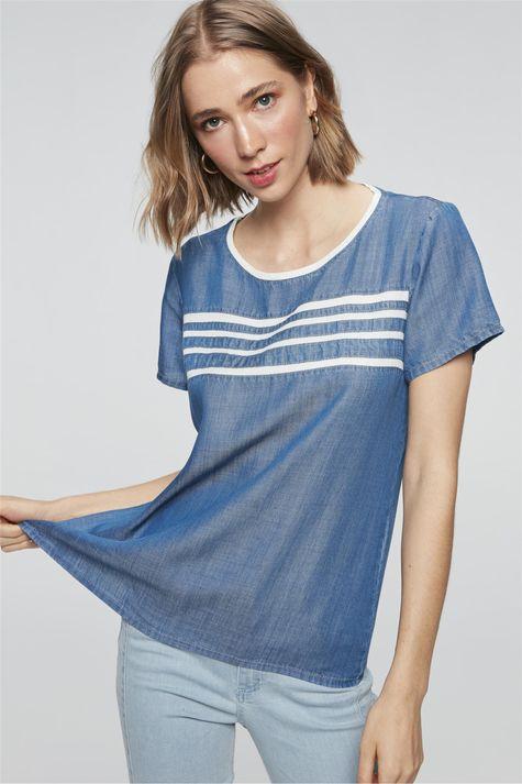 Camiseta-Jeans-Azul-Royal-com-Listras-Frente--