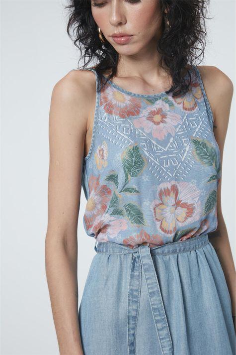Vestido-Jeans-Secretaria-Estampa-Floral-Frente--