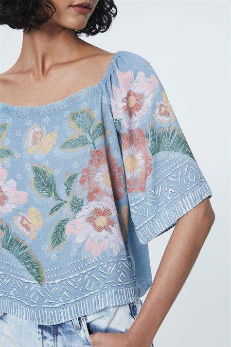 Blusa-Jeans-Ombro-a-Ombro-Estampa-Floral-Frente--